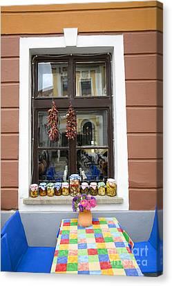 Apothecary Jars On Windowsill  Canvas Print