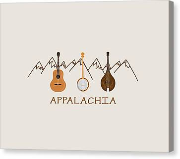 Canvas Print featuring the digital art Appalachia Mountain Music by Heather Applegate