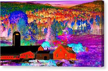 Maine Farmhouse Canvas Print - Appalachian Foliage Wonders by Mike Breau
