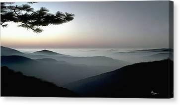 Appalachian Smoky Mountain Fog Panoramic Misty Dawn  Sunrise Sunset Scene Picture Decor Canvas Print by John Samsen