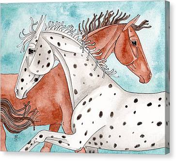 Appaloosa And Chestnut On Turquoise Canvas Print by Suzanne Joyner