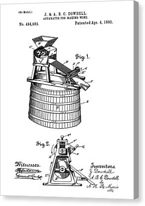 Apparatus For Making Wine Patent 1893 Canvas Print by Bill Cannon