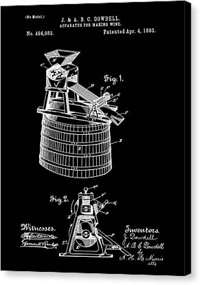 Apparatus For Making Wine Patent 1893 Black Canvas Print by Bill Cannon