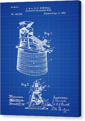 Apparatus For Making Wine Patent 1893 Blueprint Canvas Print by Bill Cannon