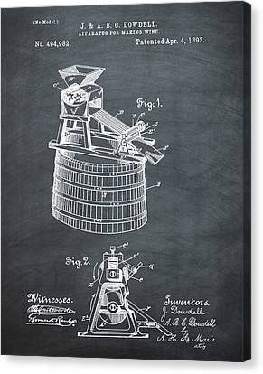 Apparatus For Making Wine Patent 1893 Chalk Canvas Print by Bill Cannon