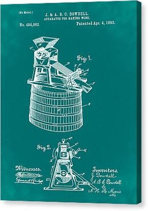 Apparatus For Making Wine Patent 1893 Green Canvas Print by Bill Cannon