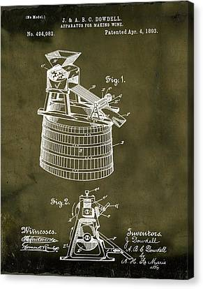 Apparatus For Making Wine Patent 1893 Grunge Canvas Print by Bill Cannon