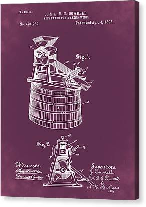 Apparatus For Making Wine Patent 1893 Red Canvas Print by Bill Cannon