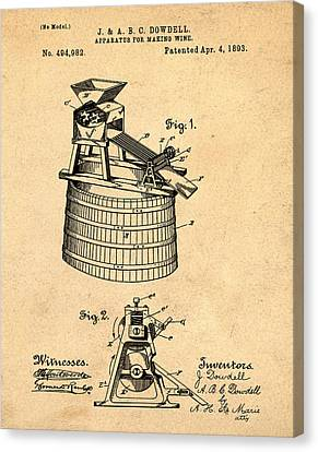 Apparatus For Making Wine Patent 1893 Sepia Canvas Print by Bill Cannon