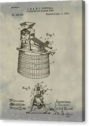 Apparatus For Making Wine Patent 1893 Vintage Canvas Print by Bill Cannon