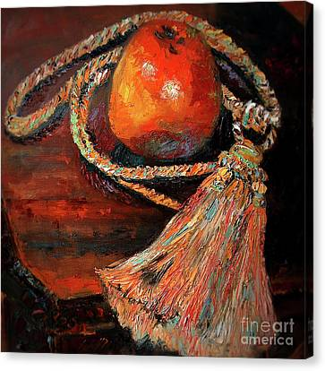 Canvas Print featuring the painting Apple And Tassel Still Life Oil Painting by Ginette Callaway