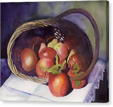 Apple Basket Canvas Print by Kathy Nesseth