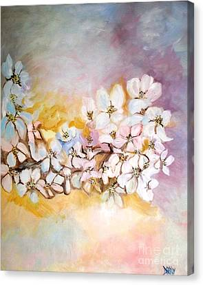 Canvas Print featuring the painting Apple Blooms by Donna Dixon
