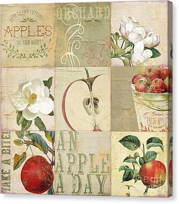 Apple Blossoms Patchwork I Canvas Print by Mindy Sommers