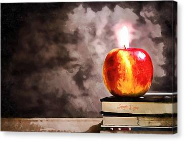 Apple Candle Canvas Print by Leonardo Digenio