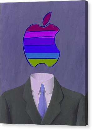 Ipad Design Canvas Print - Apple-man-4 by Rene Magritte and Andy Warhol