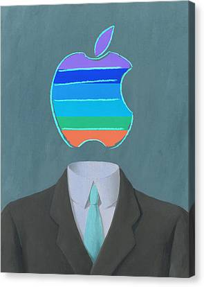 Ipad Design Canvas Print - Apple-man-5 by Rene Magritte and Andy Warhol