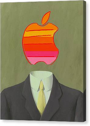 Ipad Design Canvas Print - Apple-man-6 by Rene Magritte and Andy Warhol