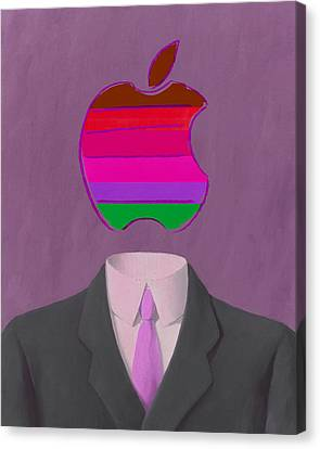 Ipad Design Canvas Print - Apple-man-7 by Rene Magritte and Andy Warhol