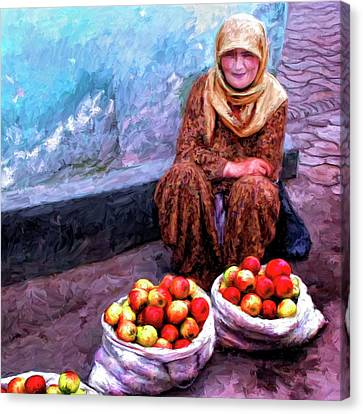Apple Seller Canvas Print by Dominic Piperata