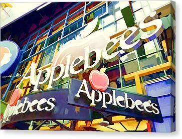 Applebee's Restaurant Sign At New York City 42 St Canvas Print