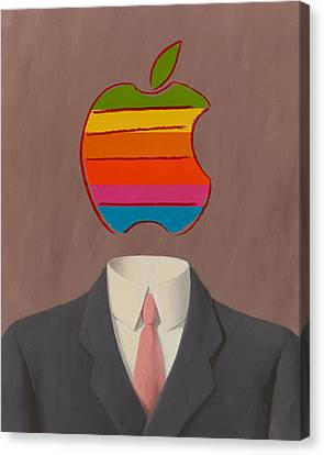 Ipad Design Canvas Print - Apple-man-1 by Rene Magritte and Andy Warhol