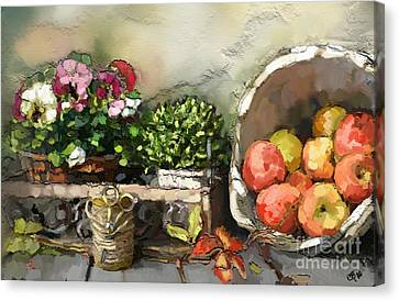 Apples And Angel Hearts Canvas Print by Carrie Joy Byrnes