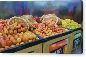 Grocery Store Canvas Print - Apples And Baskets by Debra Baldwin