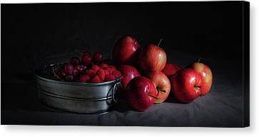 Apples And Berries Panoramic Canvas Print