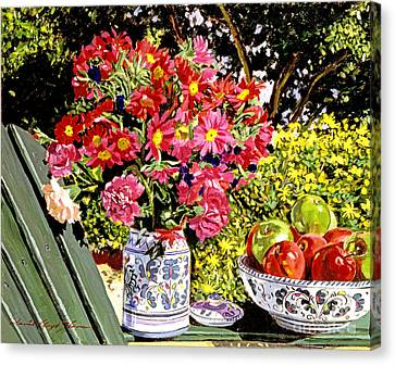 Apples And Flowers Canvas Print by David Lloyd Glover