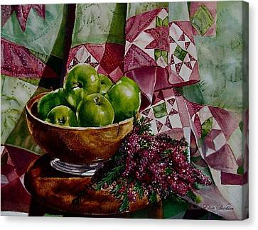 Canvas Print featuring the painting Apples And Heather by Susan Elise Shiebler