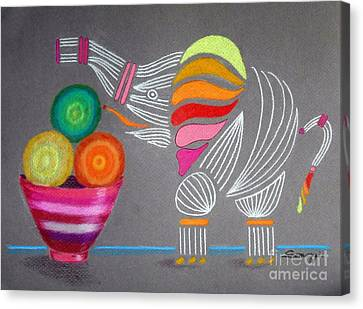 Apples And Oranges And Elephants, Oh My -- Whimsical Still Life W/ Elephant Canvas Print