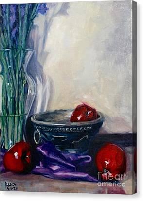 Apples And Silk Canvas Print by Rebecca Glaze