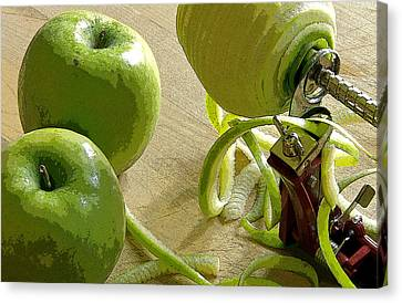 Apples Getting Peeled Canvas Print by Debra Baldwin