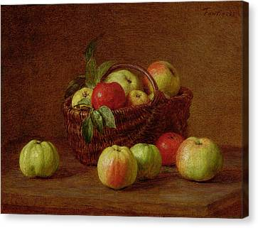 Apples In A Basket And On A Table Canvas Print