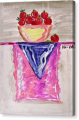 Canvas Print featuring the painting Apples On Table With Colorful Scarf by Mary Carol Williams
