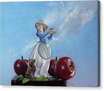 Apples With Figurine Canvas Print by Robert Tracy