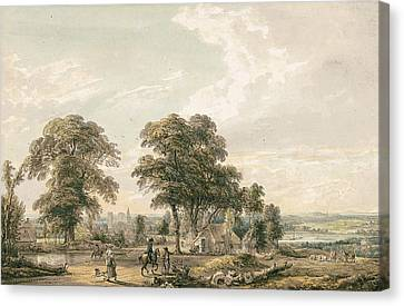 Approaching Rochester And The Medway Canvas Print by Paul Sandby