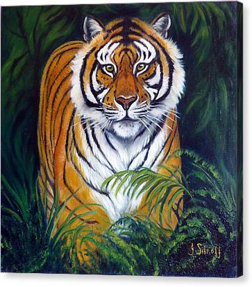 Approaching Tiger Canvas Print by Janet Silkoff