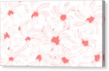 'apricot And White Flower Abstract 2' Canvas Print