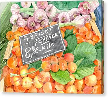 Cours Saleya Canvas Print - Apricots In An Open Air Market In Nice, France, 10 X 14 by Olga Belyaeva