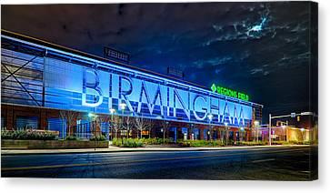 April 2015 -  Birmingham Alabama Baseball Regions Field At Night Canvas Print by Alex Grichenko