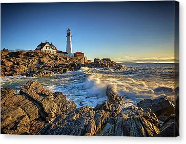 April Morning At Portland Head Canvas Print by Rick Berk
