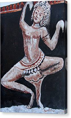 Canvas Print featuring the painting Apsara-2 by Anand Swaroop Manchiraju