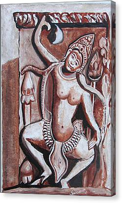 Canvas Print featuring the painting Apsara-3 by Anand Swaroop Manchiraju