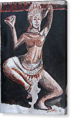 Canvas Print featuring the painting Apsara Dancing by Anand Swaroop Manchiraju