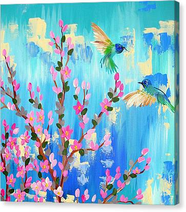 Aqua And Pink Canvas Print by Cathy Jacobs