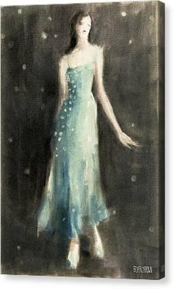 Blue Dress Canvas Print - Aqua Blue Evening Dress by Beverly Brown Prints