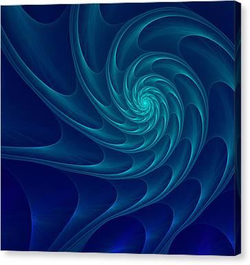 Aqua Blue Nautilus Sea Shell Canvas Print by Anna Bliokh