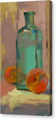 Canvas Print - Aqua Bottle by Donna Shortt